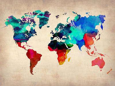 Modern Poster Painting - Watercolor World Map 3 by Naxart Studio