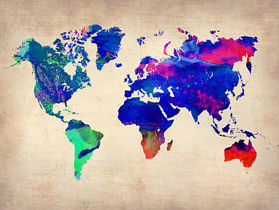 Modern Poster Painting - Watercolor World Map 4 by Naxart Studio