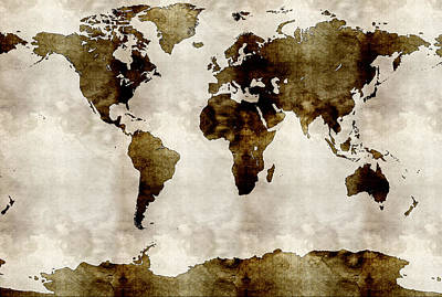 Watercolor World Map Art Print by Celestial Images