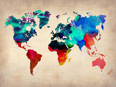 Modern Poster Painting - Watercolor World Map by Naxart Studio
