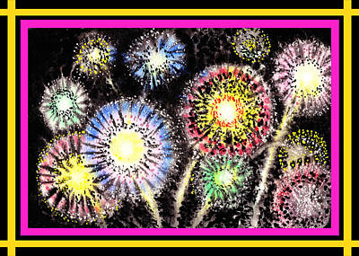 Happy New Year Painting - Watercolorful Fireworks by Irina Sztukowski