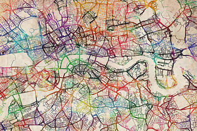 Street Digital Art - Watercolour Map Of London by Michael Tompsett