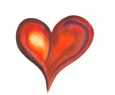 Hearty Painting - Watercolour Painting Of Colorful Abstract Heart by Kerstin Ivarsson