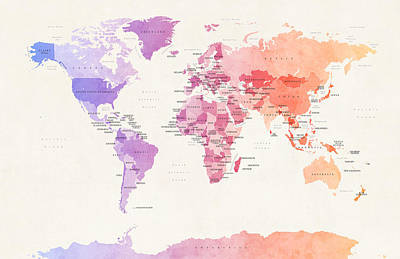 Watercolor Map Digital Art - Watercolour Political Map Of The World by Michael Tompsett