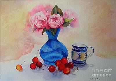 Watercolour Roses And Cherries Art Print by Beatrice Cloake