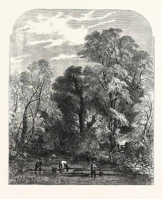 Watercress-gathering Art Print by Read, Samuel (1816-83), English
