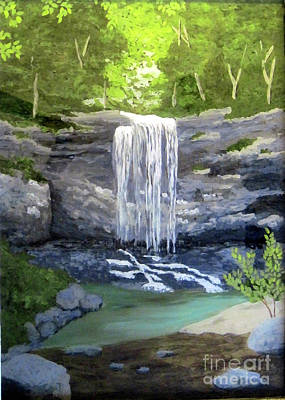 Reverse Glass Painting - Waterfall 8 by Susan Plenzick