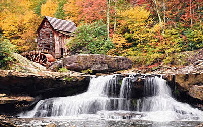 Waterfall And Gristmill.  Art Print by Garland Johnson