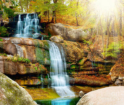 Art Print featuring the photograph Waterfall Art by Boon Mee