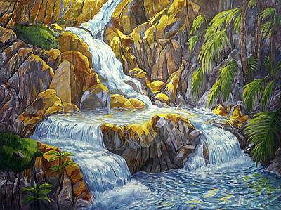 Painting - Waterfall At Botanical Gardens by Fay Biegun - Printscapes