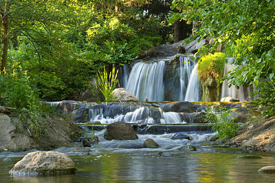 Waterfall At Lake Katherine 2 Art Print by Larry Bohlin