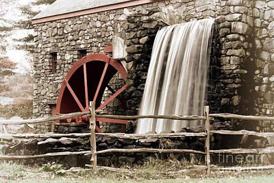 Sudbury Ma Digital Art - Waterfall At The Mill by Jayne Carney