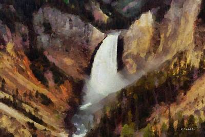 Art Print featuring the painting Waterfall At Yellowstone National Park by Kai Saarto