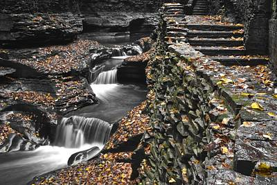 Photograph - Waterfall Black And Color by Frozen in Time Fine Art Photography