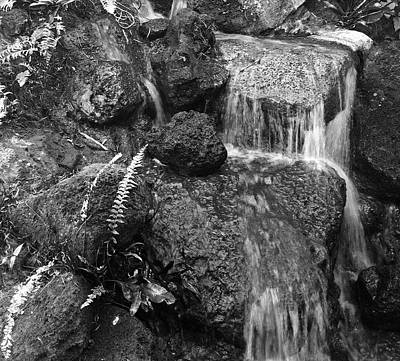 Photograph - Waterfall - Black And White by Alohi Fujimoto