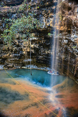 Photograph - Waterfall Cenote by Paul Camhi