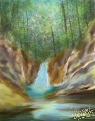 Digital Art - Waterfall by Chitra Helkar