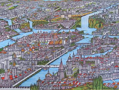 Waterfall City Art Print