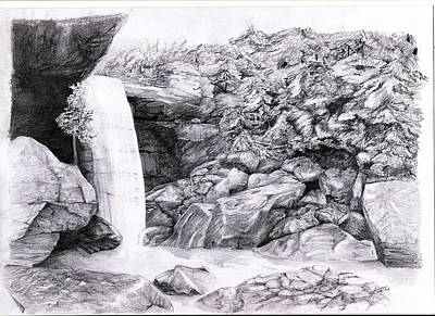 Pencil Drawing Waterfall Drawing - Waterfall by Dimitar Stancev