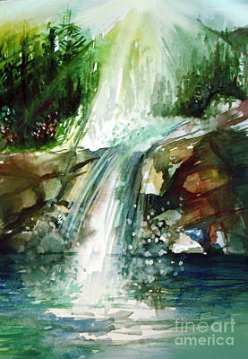 Sun Rays Painting - Waterfall Expression by Allison Ashton