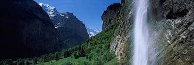 Lauterbrunnen Wall Art - Photograph - Waterfall In A Forest, Staubbach Falls by Panoramic Images