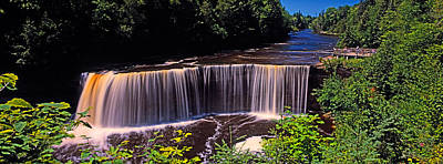 Waterfall In A Forest, Tahquamenon Art Print by Panoramic Images