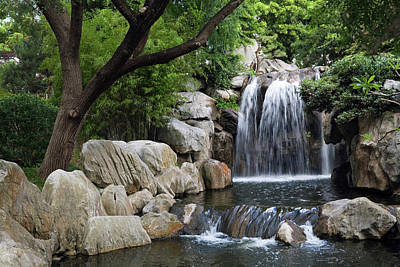 Photograph - Waterfall In Chinese Garden Of by Andrew Watson