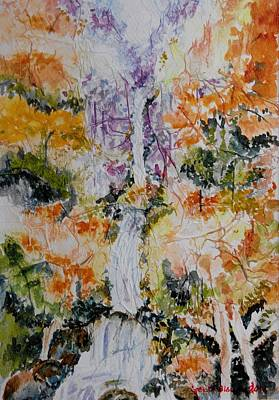 Painting - Waterfall In Forest by Geeta Biswas