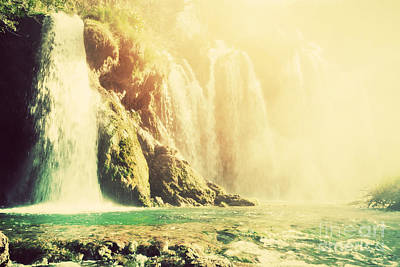 Leaves Photograph - Waterfall In Forest Vintage Style by Michal Bednarek