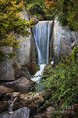 Waterfall In Japanese Garden Art Print by Elena Elisseeva