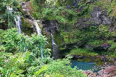 Photograph - Waterfall In Maui by Jane Girardot