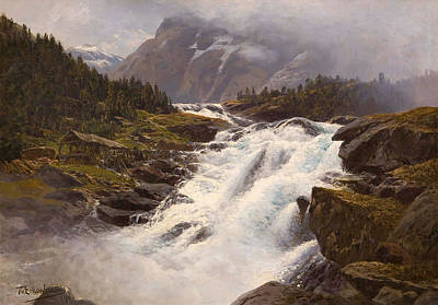 Norwegian Waterfall Painting - Waterfall In Norwegian Mountain Landscape by Themistokles von Eckenbrecher