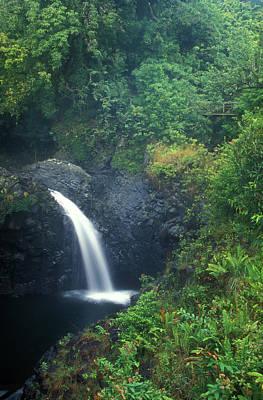 Photograph - Waterfall In Rainforest Hana Highway Maui Hawaii by John Burk