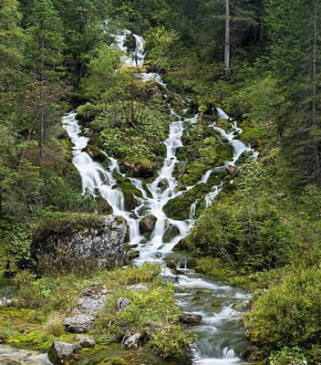 Waterfall In The Karwendel Valley Art Print
