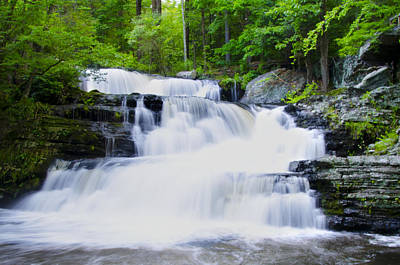 Waterfall In The Pocono Mountains Art Print by Bill Cannon