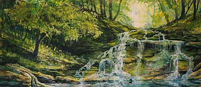 Art Print featuring the painting Waterfall In The Woods by Joy Nichols