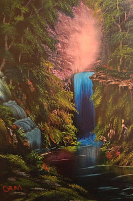 Bob Ross Painting - Waterfall In The Woods by Koko Elorm