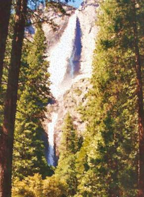 Digital Art - Waterfall In Yosemite Painting by Asbjorn Lonvig