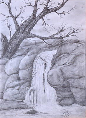 Pencil Drawing Waterfall Drawing - Waterfall by Jeannie Anderson