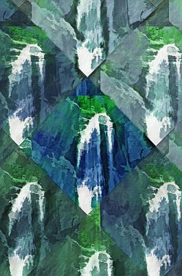 Mountainous Mixed Media - Waterfall Kaleidoscopic Abstract by Steve Ohlsen