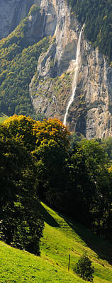 Wengen Photograph - Waterfall, Lauterbrunnen Valley by Panoramic Images