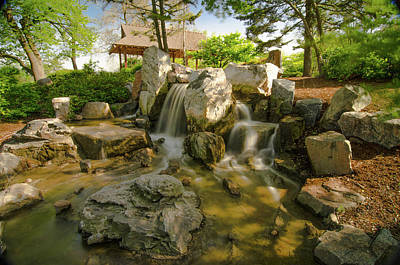 Priska Wettstein Pink Hues - Waterfall Pond Osaka Garden by Jonah Anderson