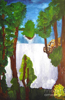 Opaque White Painting - Waterfall by Sandy McIntire