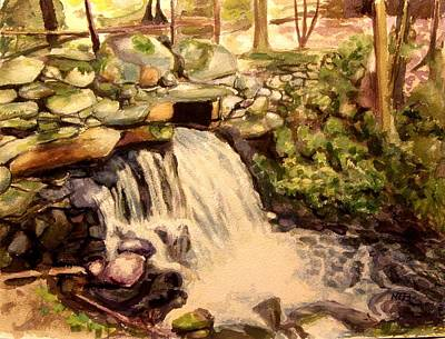 Painting - Waterfall Sharon Audubon 12x16 by Nicolas Bouteneff