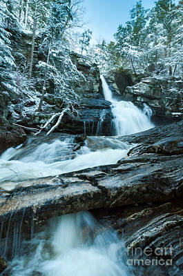 Waterfall - Spring Snow On Kent Falls Art Print by JG Coleman