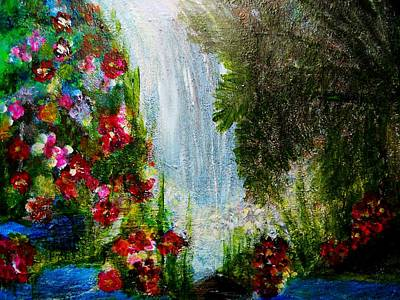 Abstrac Painting - Waterfall by Suzanne Thomas