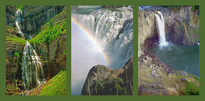 Waterfall Triptych Art Print by Steve Ohlsen