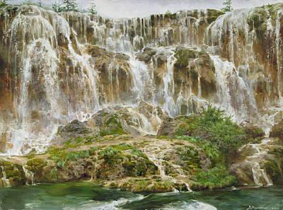 Albert Bierstadt - Waterfall by Victoria Kharchenko