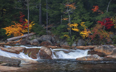 Waterfall - White Mountains - New Hampshire Art Print