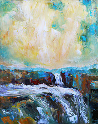 Pallet Knife Painting - Waterfalls 2 by Becky Kim